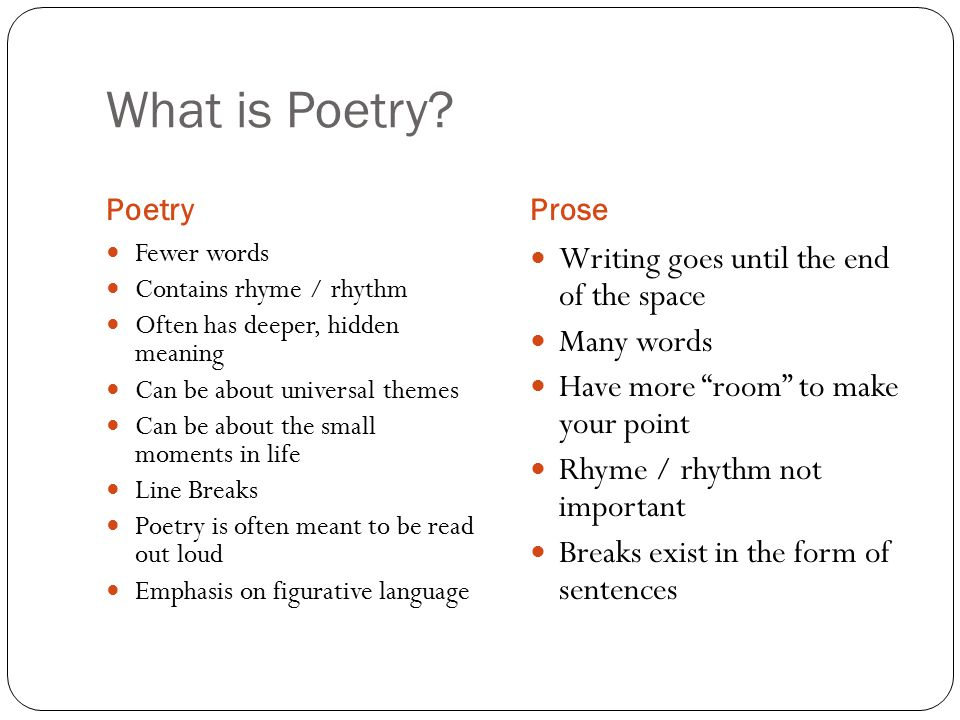 What is Poetry? PoetryProse Fewer words Contains rhyme / rhythm Often has deeper, hidden meaning Can be about universal themes Can be about the small