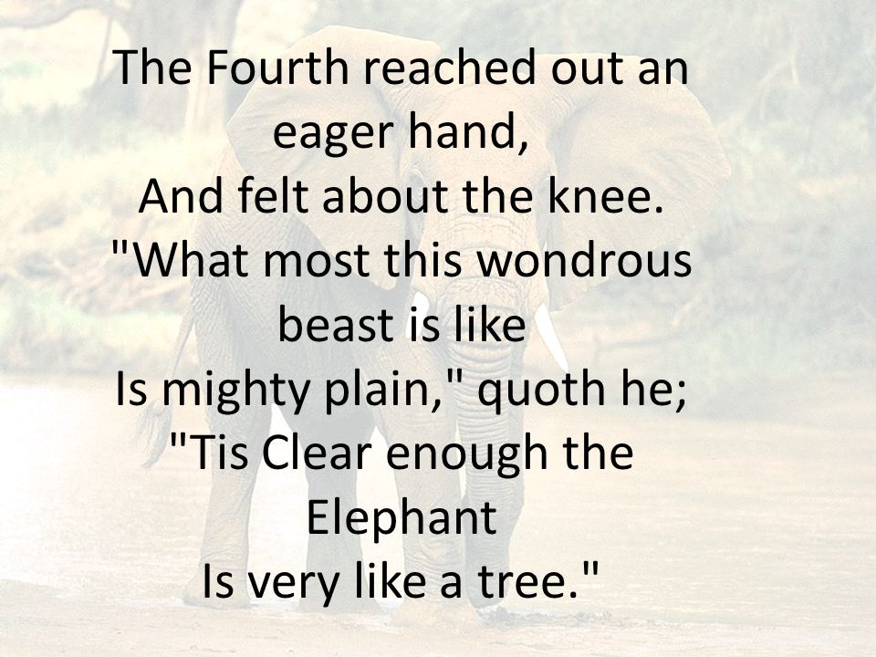 The Fifth, who chanced to touch the ear, Said: E en the blindest man Can tell what this resembles most; Deny the fact who can, This marvel of an Elephant Is very like a fan!