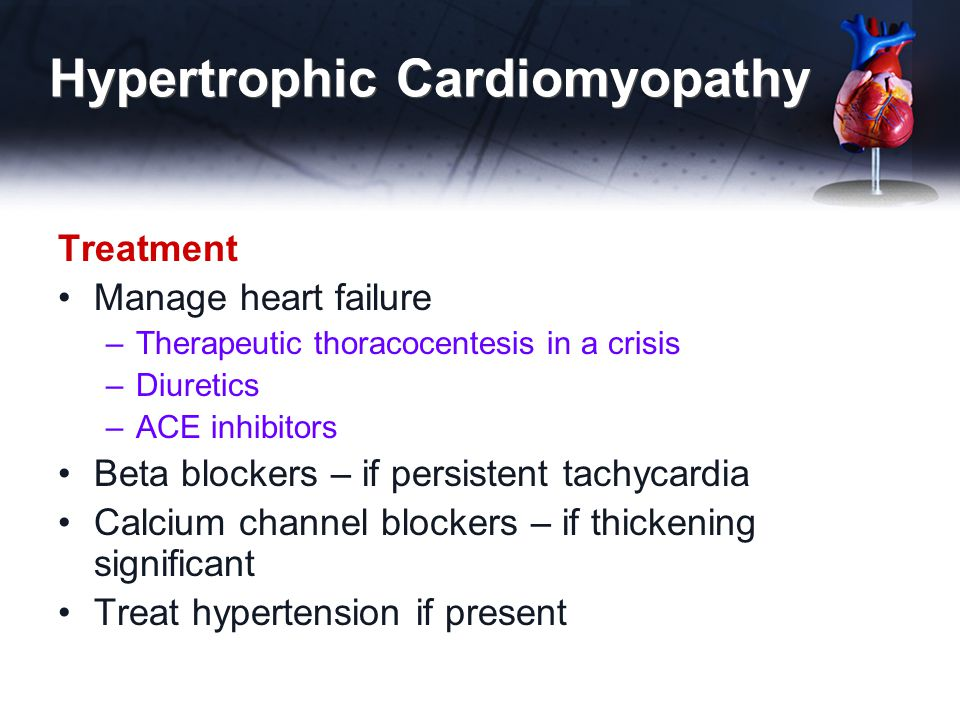 Hypertrophic Cardiomyopathy Treatment Manage heart failure –Therapeutic thoracocentesis in a crisis –Diuretics –ACE inhibitors Beta blockers – if pers