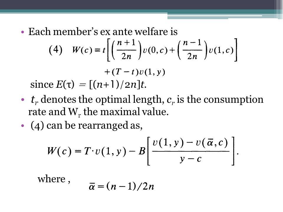 Each member's ex ante welfare is since E(τ ) = [(n+ 1)/ 2n]t.