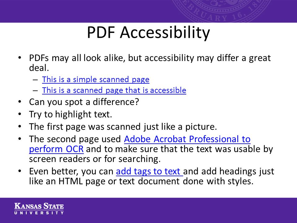 PDF Accessibility PDFs may all look alike, but accessibility may differ a great deal.