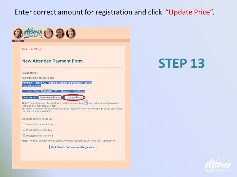 "Enter correct amount for registration and click ""Update Price"". STEP 13"