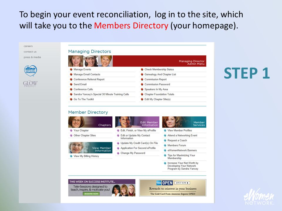 When you've finished entering Foundation Donation amounts, click the My Events link to go back to your events.