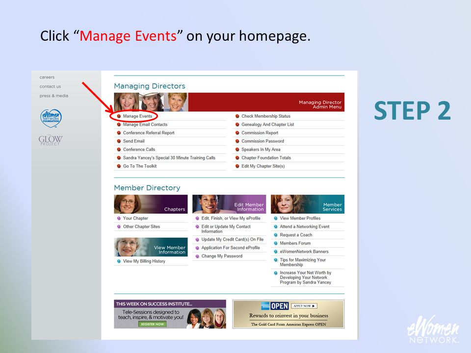 Select My Events . STEP 3