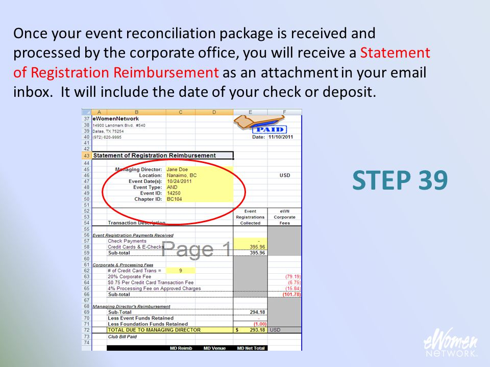 Once your event reconciliation package is received and processed by the corporate office, you will receive a Statement of Registration Reimbursement a