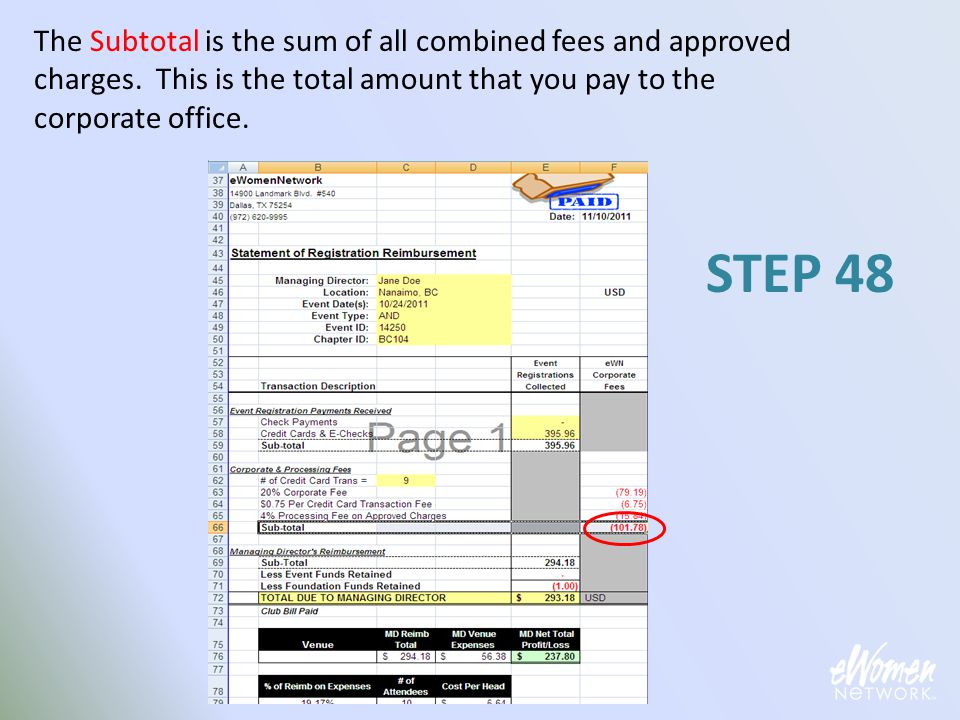 The Subtotal is the sum of all combined fees and approved charges. This is the total amount that you pay to the corporate office. STEP 48