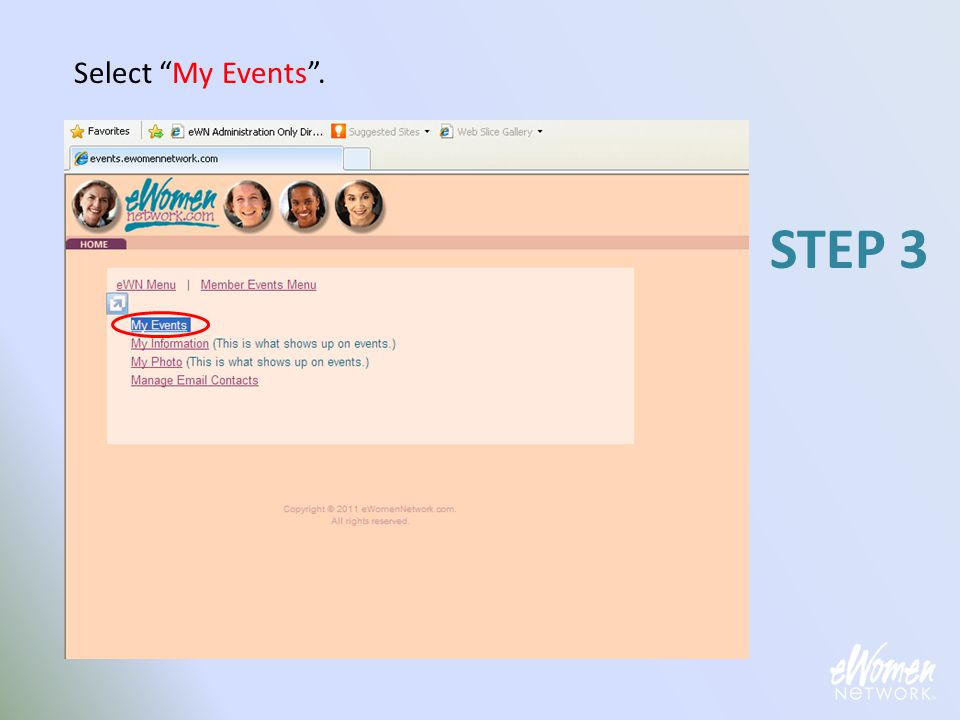 "Select ""My Events"". STEP 3"
