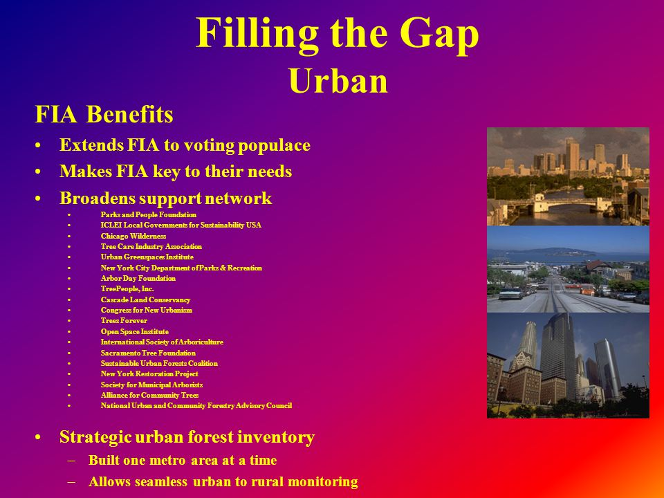 Filling the Gap Urban FIA Benefits Extends FIA to voting populace Makes FIA key to their needs Broadens support network Parks and People Foundation ICLEI Local Governments for Sustainability USA Chicago Wilderness Tree Care Industry Association Urban Greenspaces Institute New York City Department of Parks & Recreation Arbor Day Foundation TreePeople, Inc.