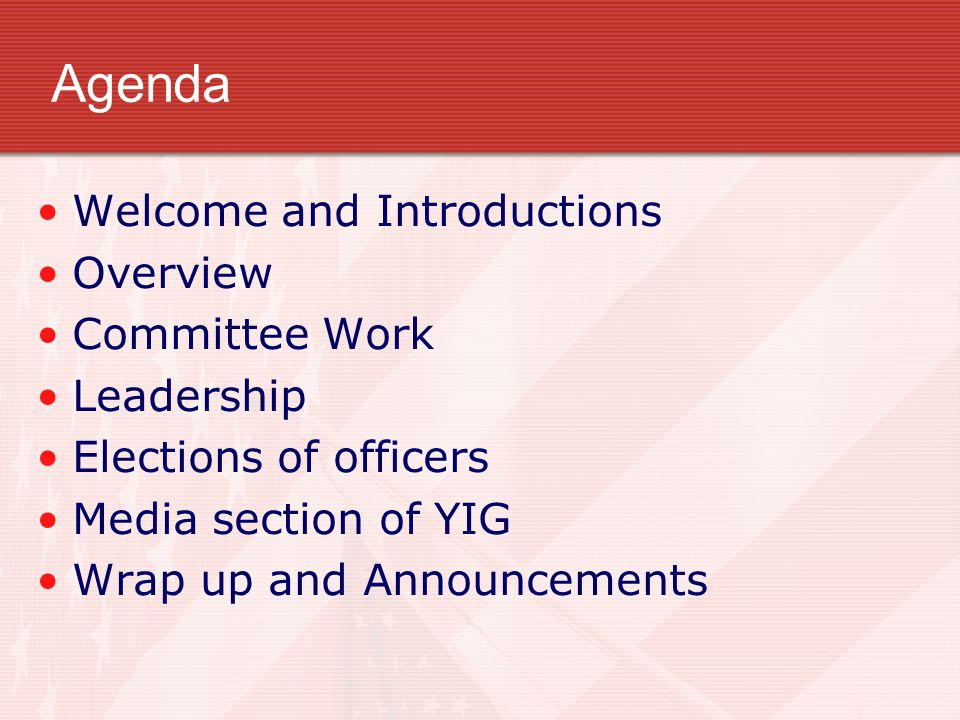 Agenda Welcome and Introductions Overview Committee Work Leadership Elections of officers Media section of YIG Wrap up and Announcements