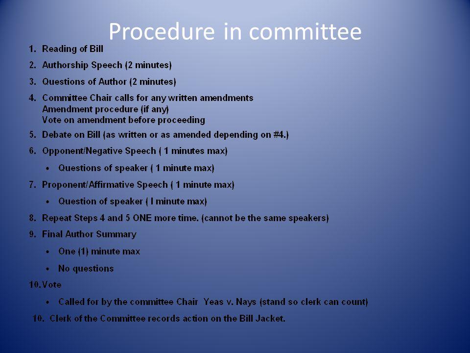 Procedure in committee
