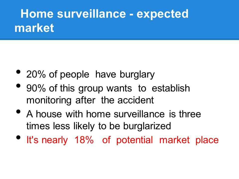 Home surveillance - expected market 20% of people have burglary 90% of this group wants to establish monitoring after the accident A house with home s