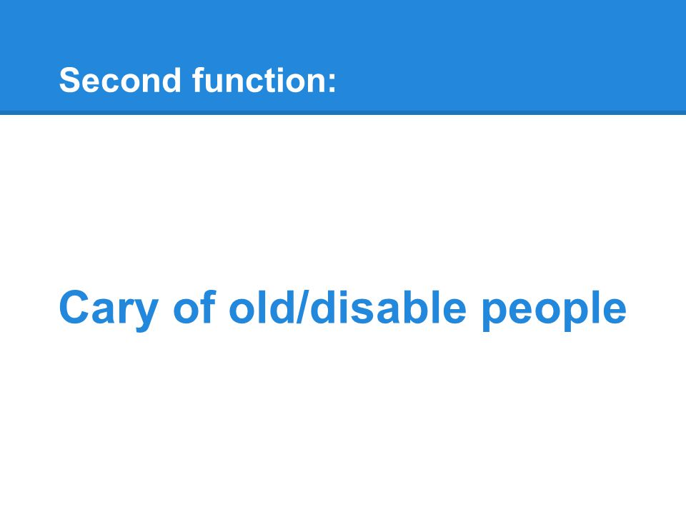 Second function: Cary of old/disable people