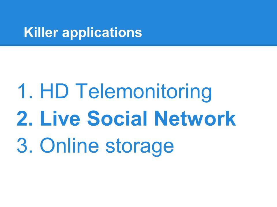 Killer applications 1. HD Telemonitoring 2. Live Social Network 3. Online storage