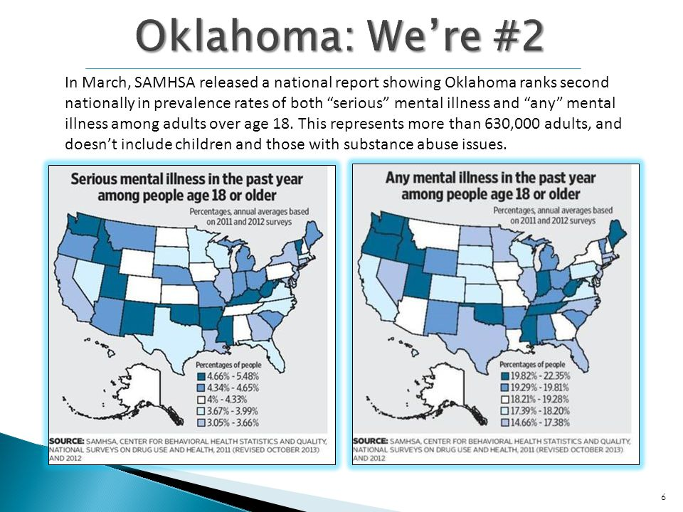 In March, SAMHSA released a national report showing Oklahoma ranks second nationally in prevalence rates of both serious mental illness and any mental illness among adults over age 18.