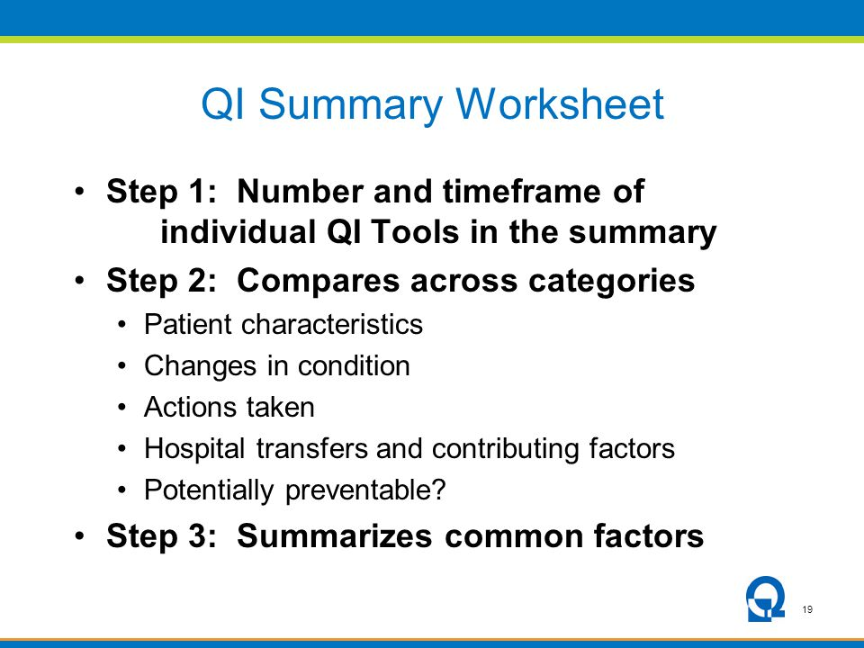 19 QI Summary Worksheet Step 1: Number and timeframe of individual QI Tools in the summary Step 2: Compares across categories Patient characteristics