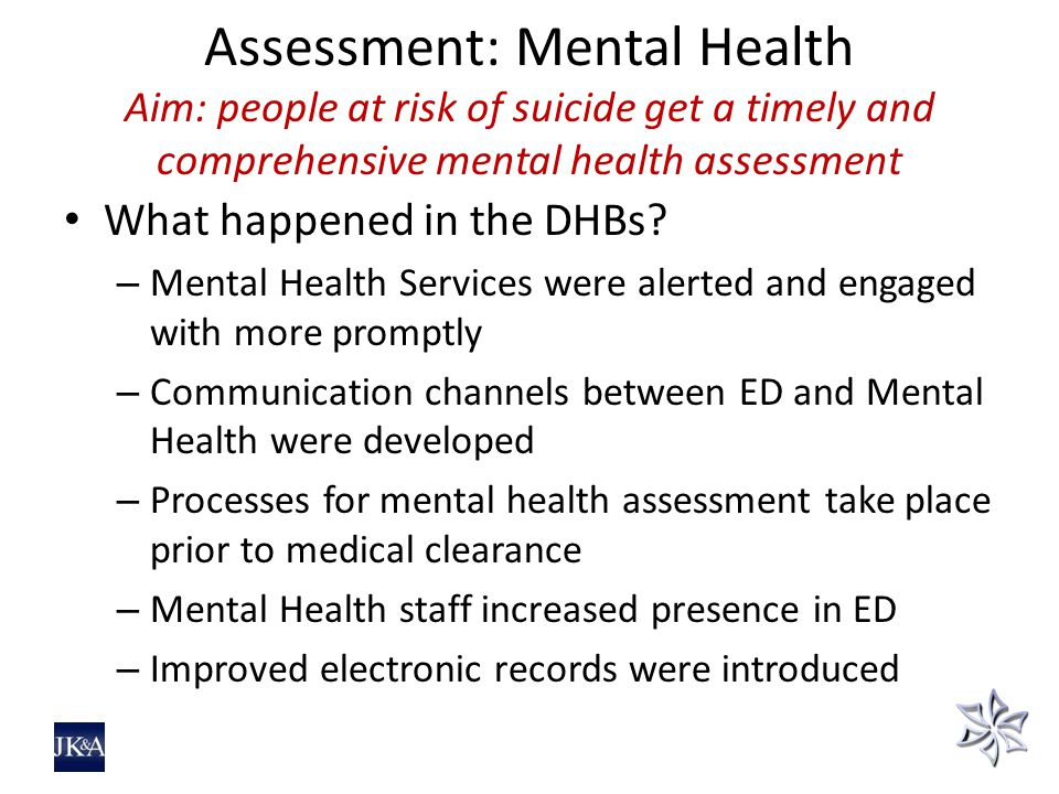 Assessment: Mental Health Aim: people at risk of suicide get a timely and comprehensive mental health assessment What happened in the DHBs.