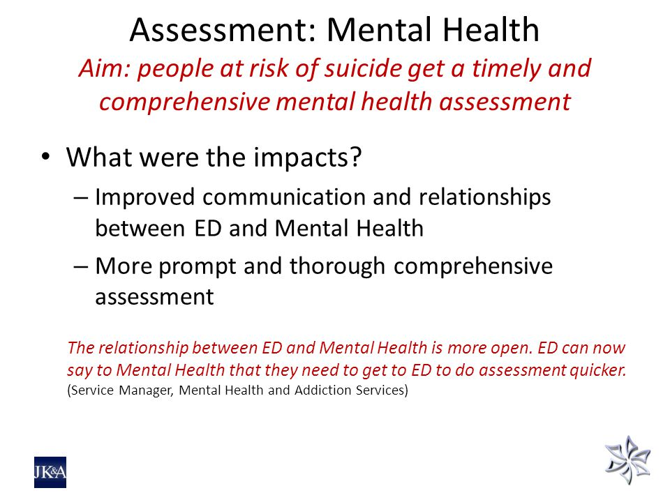 Assessment: Mental Health Aim: people at risk of suicide get a timely and comprehensive mental health assessment What were the impacts.