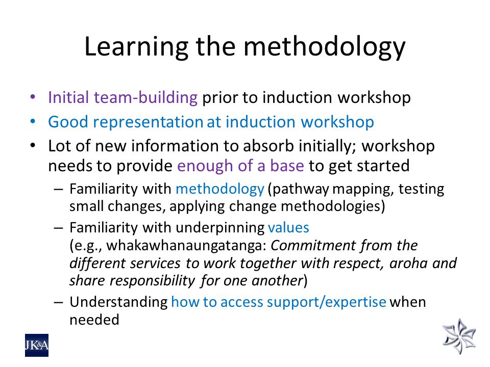 Learning the methodology Initial team-building prior to induction workshop Good representation at induction workshop Lot of new information to absorb initially; workshop needs to provide enough of a base to get started – Familiarity with methodology (pathway mapping, testing small changes, applying change methodologies) – Familiarity with underpinning values (e.g., whakawhanaungatanga: Commitment from the different services to work together with respect, aroha and share responsibility for one another) – Understanding how to access support/expertise when needed