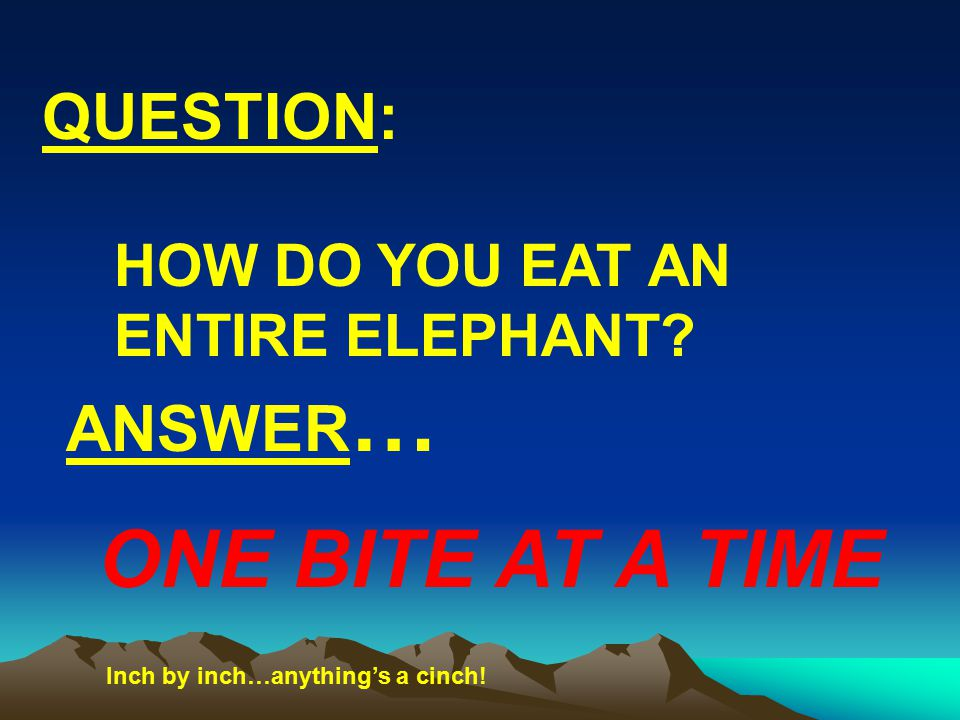 QUESTION: ANSWER … ONE BITE AT A TIME HOW DO YOU EAT AN ENTIRE ELEPHANT.