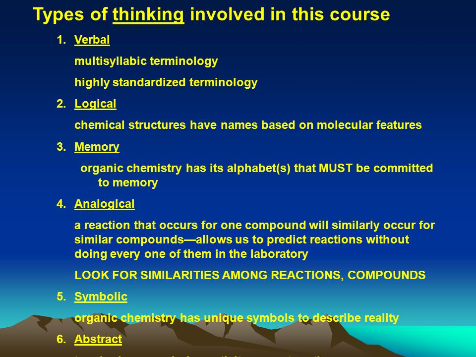 Types of thinking involved in this course 1.Verbal multisyllabic terminology highly standardized terminology 2.Logical chemical structures have names