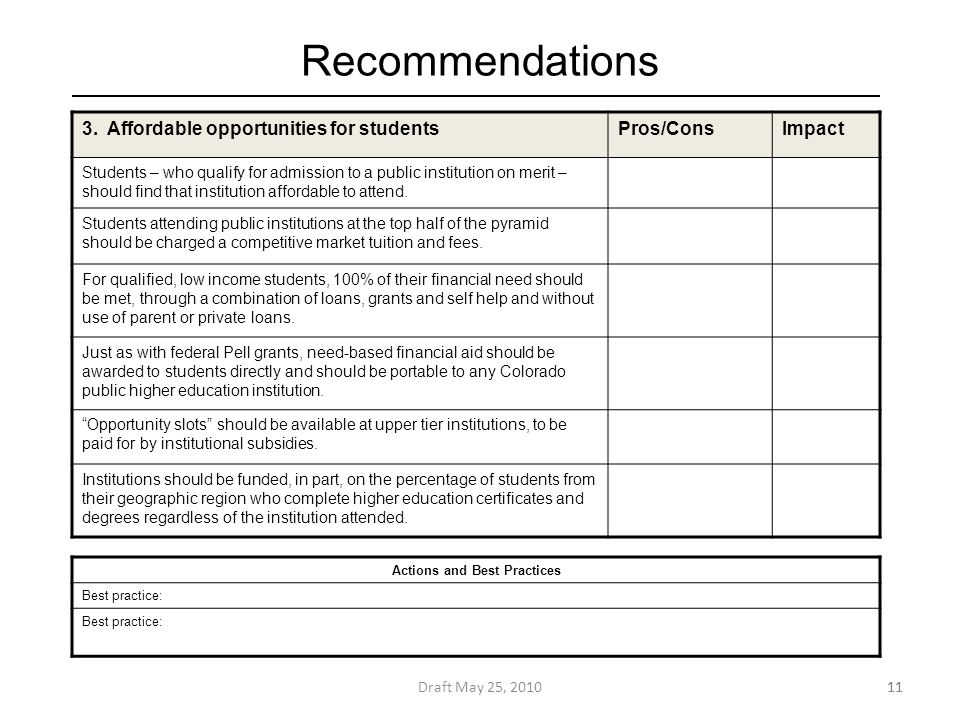 Recommendations Draft May 25, 201011 3.