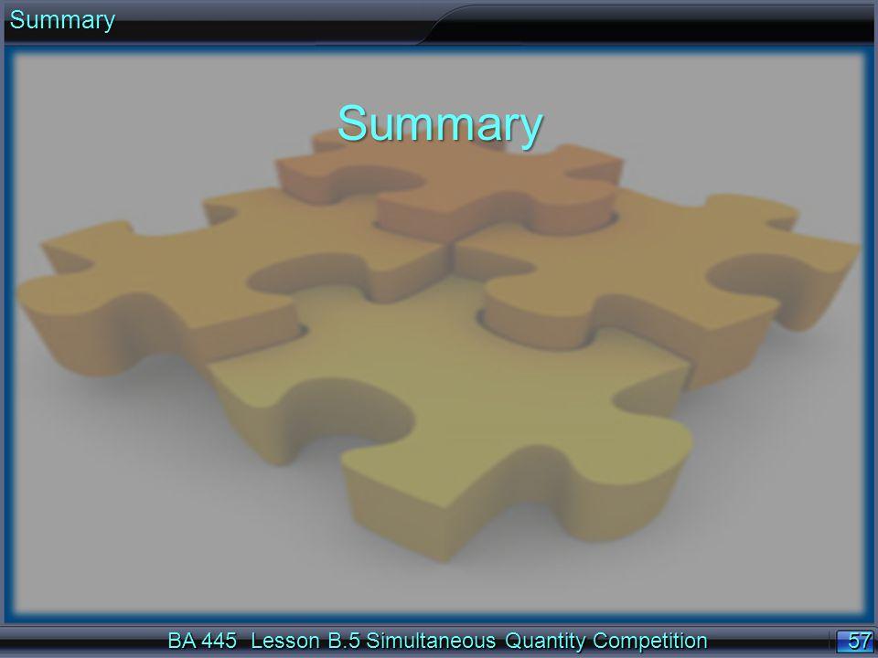 57 BA 445 Lesson B.5 Simultaneous Quantity Competition SummarySummary