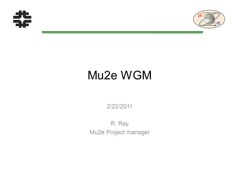 Mu2e WGM 2/22/2011 R. Ray Mu2e Project manager