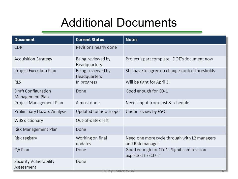 Additional Documents R. Ray - Mu2e WGM14