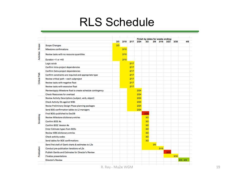 RLS Schedule R. Ray - Mu2e WGM19