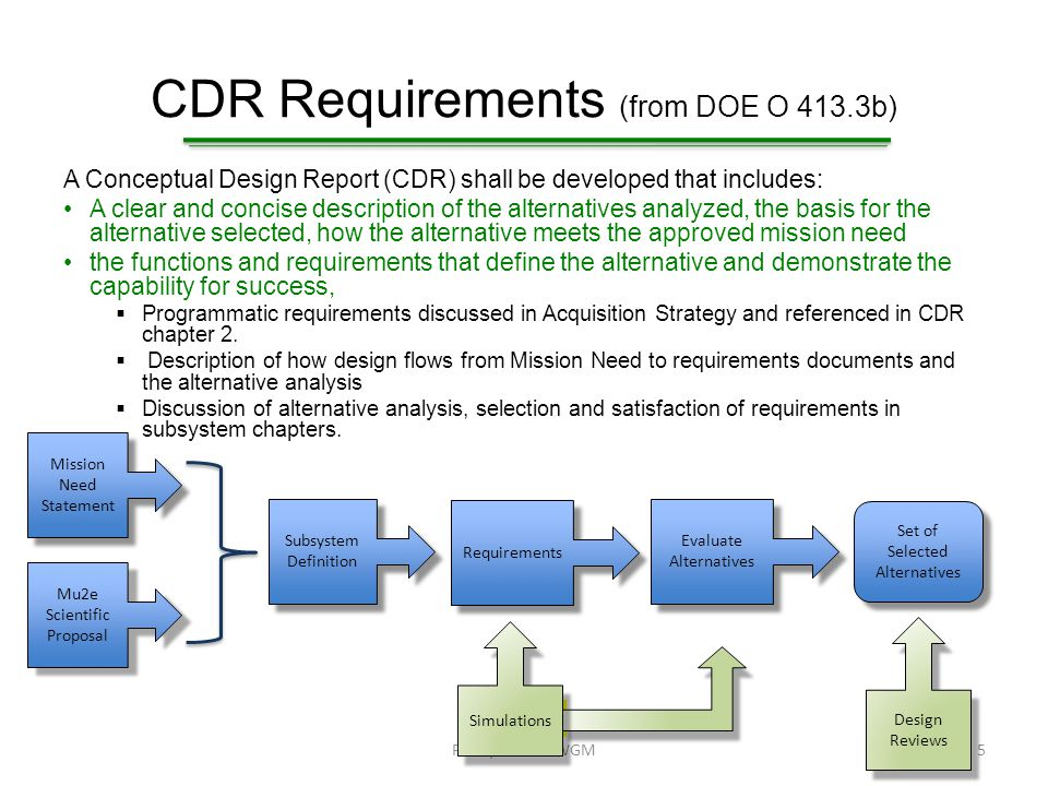 CDR Requirements Facility performance requirements  Included in the Conventional Construction chapter Planning standards and life-cycle cost assumptions.