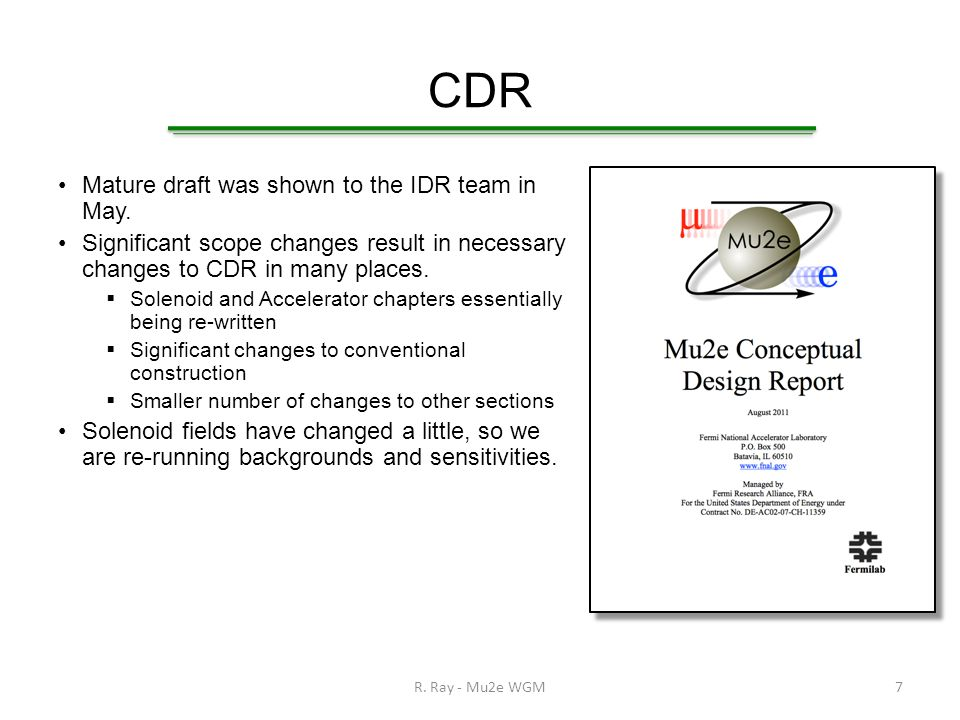 CDR Mature draft was shown to the IDR team in May.