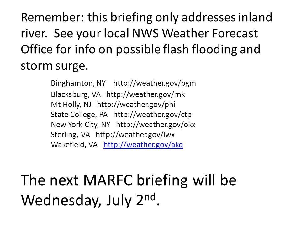 Remember: this briefing only addresses inland river.