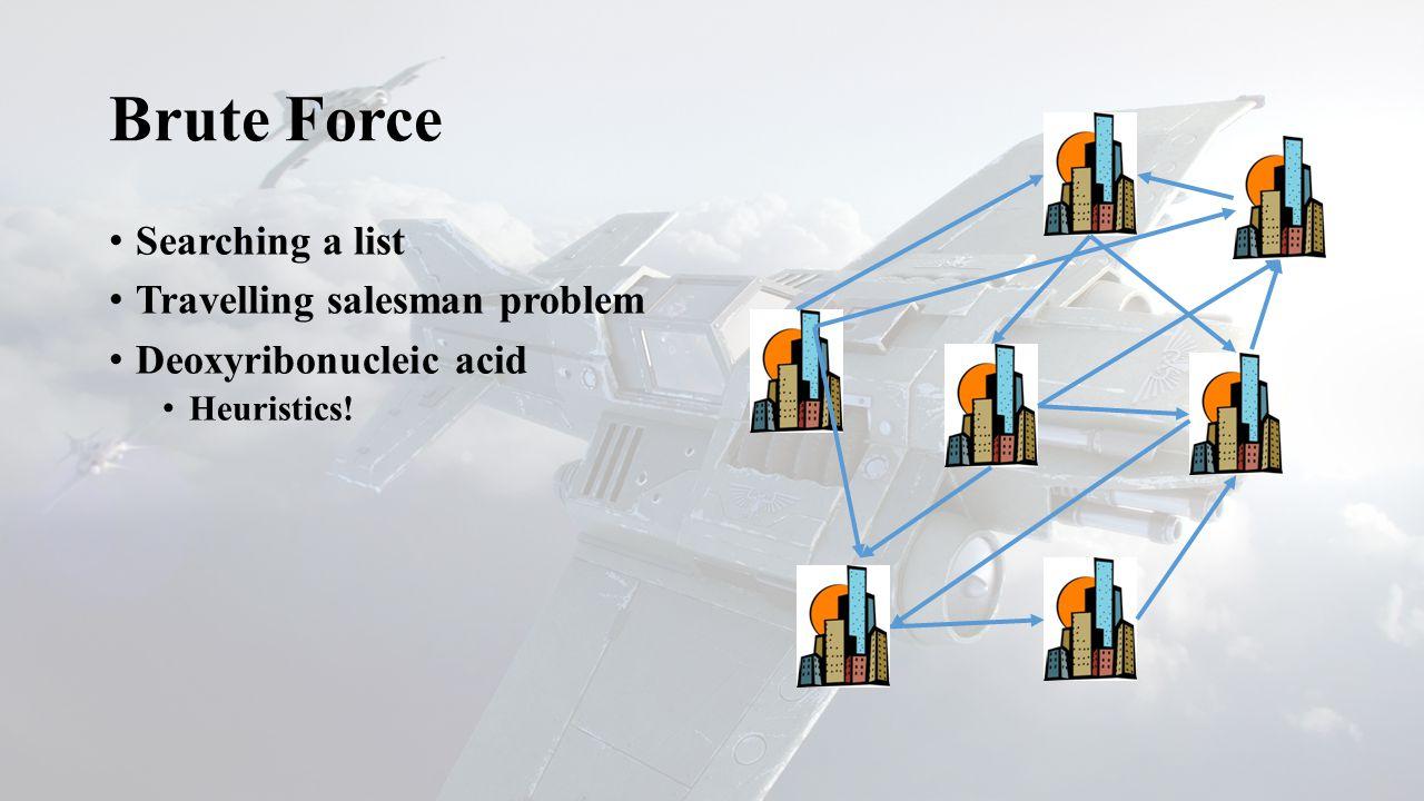 Searching a list Travelling salesman problem Deoxyribonucleic acid Heuristics!