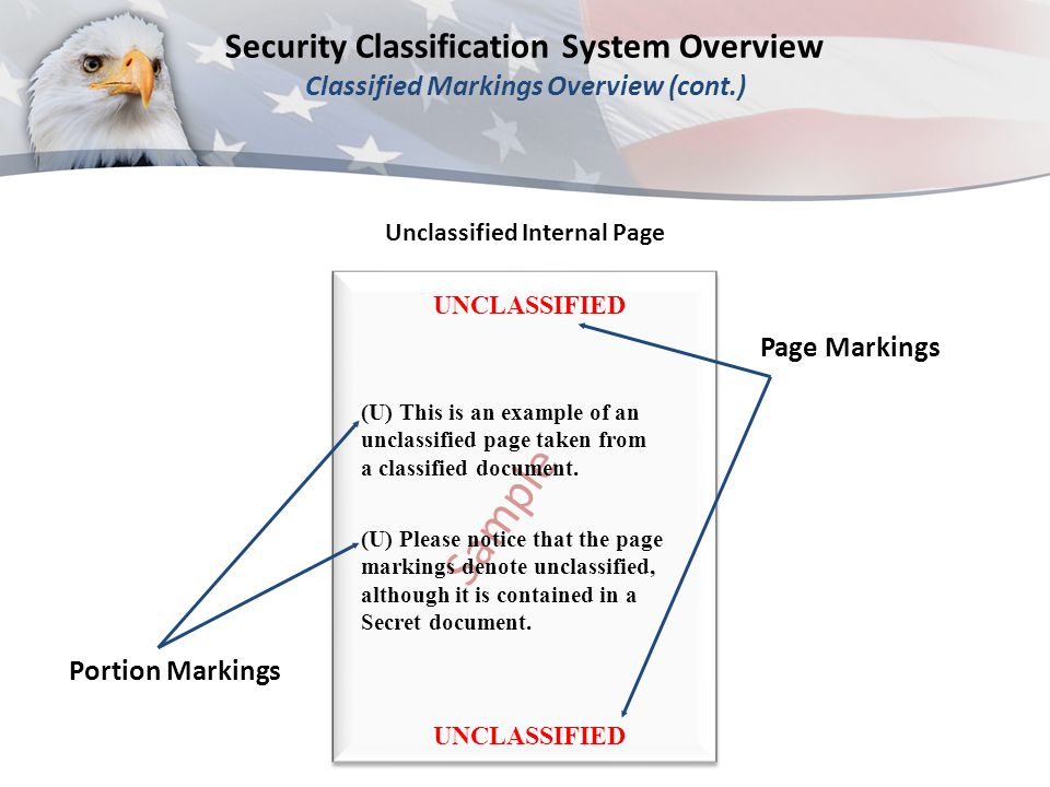 UNCLASSIFIED Page Markings Portion Markings UNCLASSIFIED Sample (U) This is an example of an unclassified page taken from a classified document.