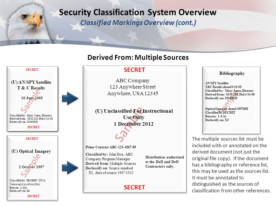 Derived From: Multiple Sources (U) Optical Imagery Classified by: SECDEF (OCA Name and position title) Reason: 1.4(a) Declassify on: X3 2 October 1997 SECRET The multiple sources list must be included with or annotated on the derived document (not just the original file copy).