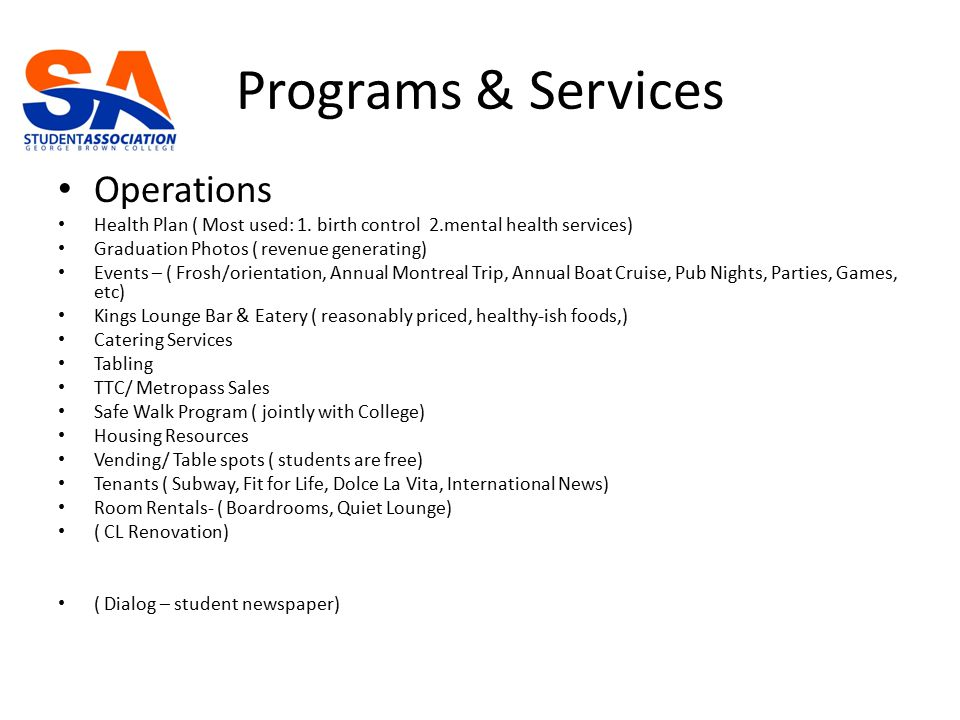 Programs & Services Operations Health Plan ( Most used: 1.