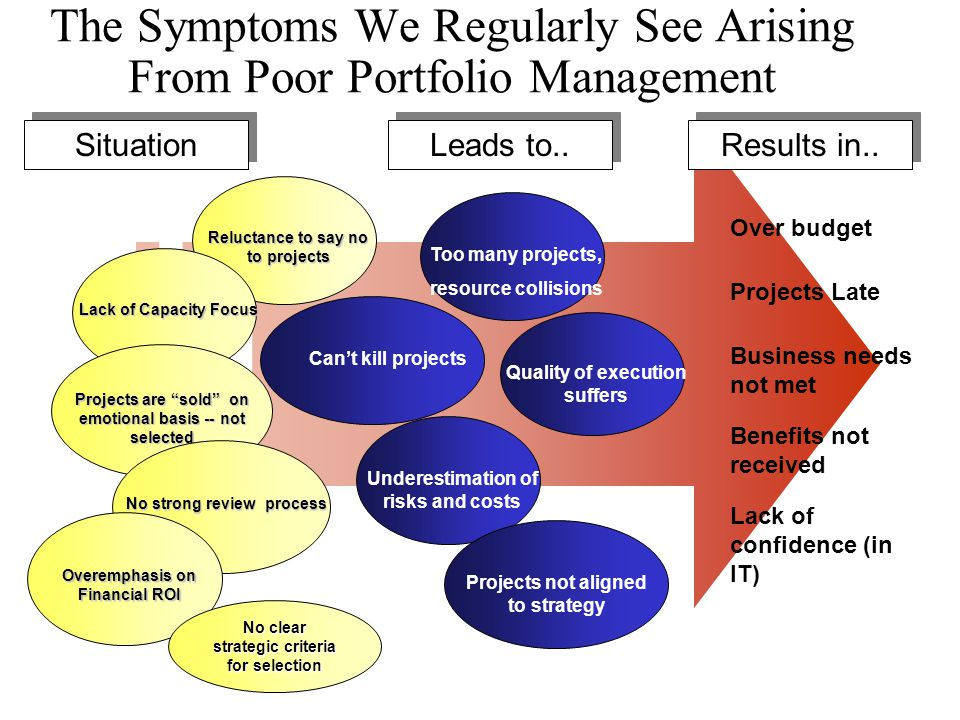 The Symptoms We Regularly See Arising From Poor Portfolio Management Can't kill projects Leads to.. Too many projects, resource collisions Quality of