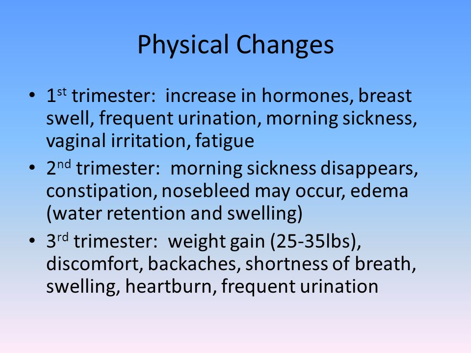 Physical Changes 1 st trimester: increase in hormones, breast swell, frequent urination, morning sickness, vaginal irritation, fatigue 2 nd trimester: morning sickness disappears, constipation, nosebleed may occur, edema (water retention and swelling) 3 rd trimester: weight gain (25-35lbs), discomfort, backaches, shortness of breath, swelling, heartburn, frequent urination
