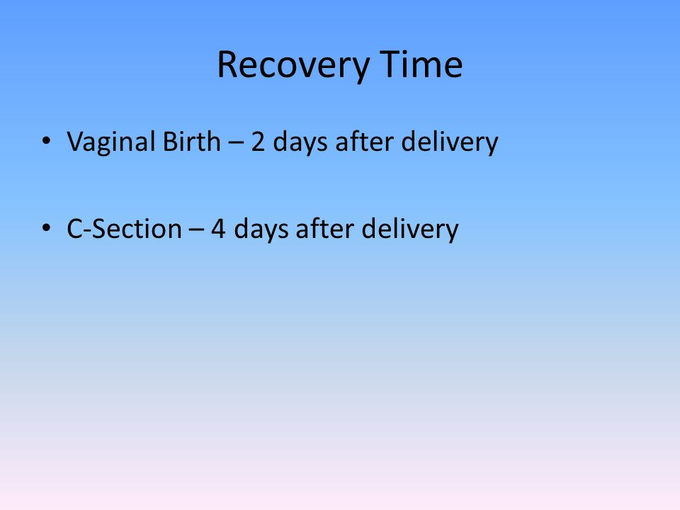 Recovery Time Vaginal Birth – 2 days after delivery C-Section – 4 days after delivery