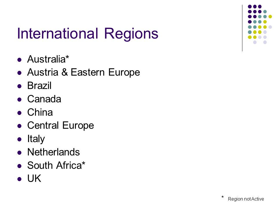 International Regions Australia* Austria & Eastern Europe Brazil Canada China Central Europe Italy Netherlands South Africa* UK * Region not Active