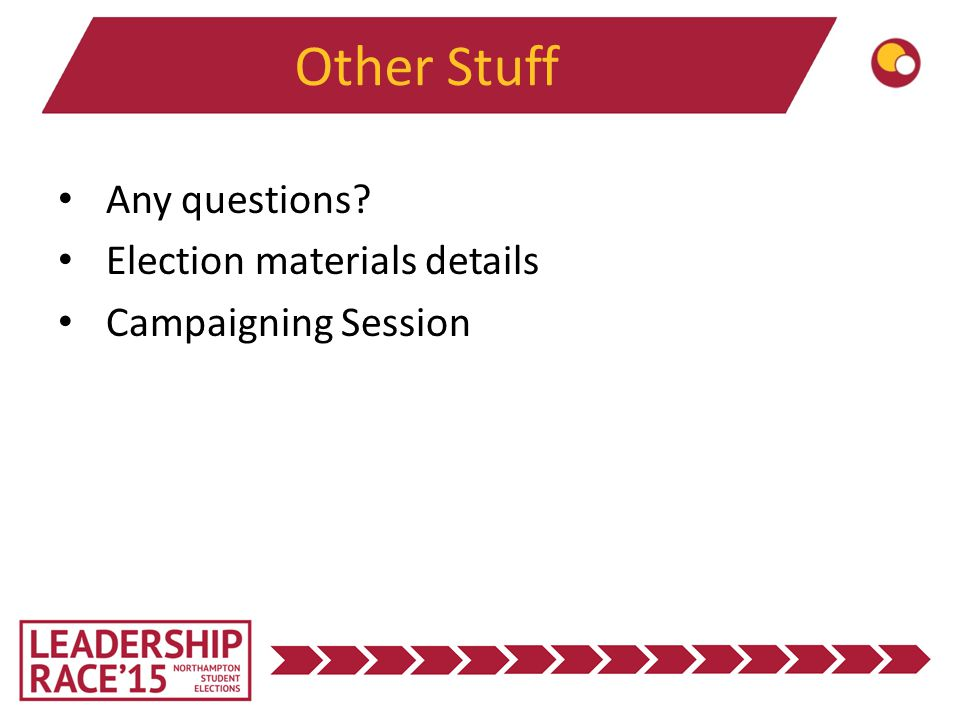 Other Stuff Any questions Election materials details Campaigning Session