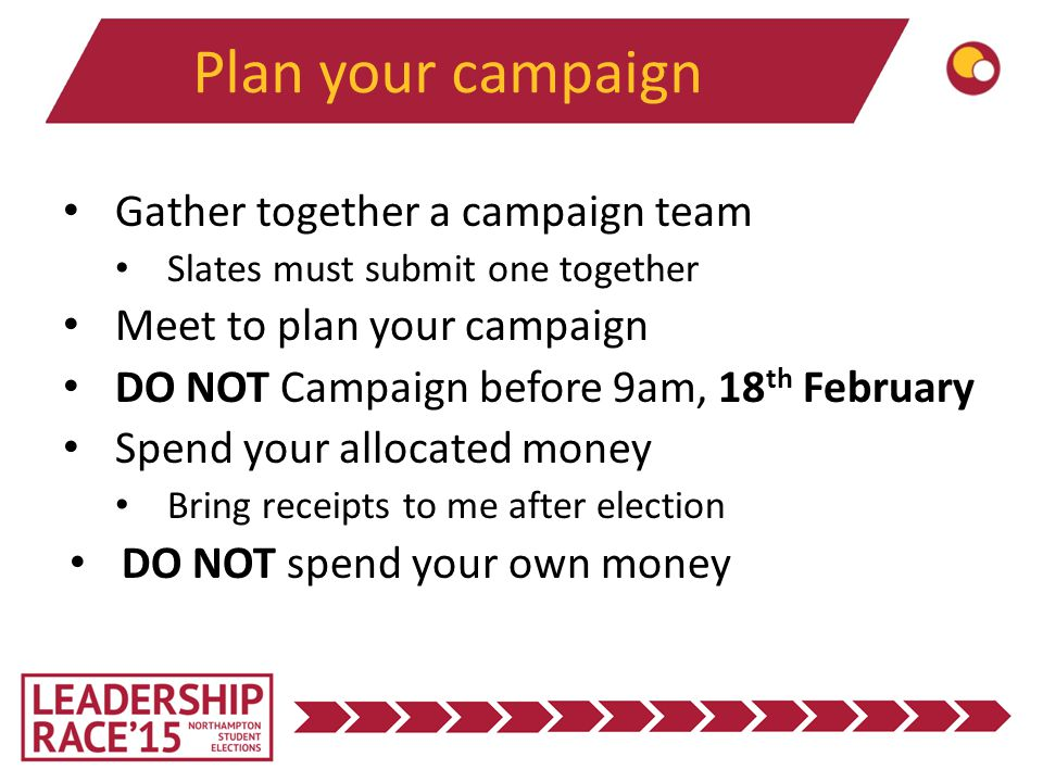 Plan your campaign Gather together a campaign team Slates must submit one together Meet to plan your campaign DO NOT Campaign before 9am, 18 th February Spend your allocated money Bring receipts to me after election DO NOT spend your own money