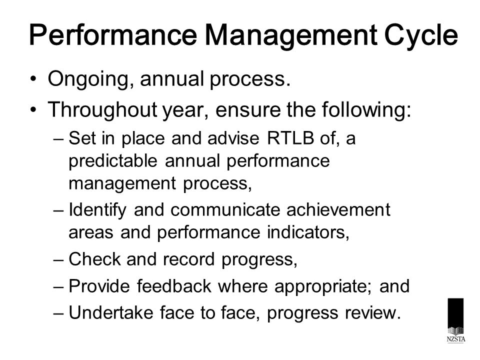 Performance Management Cycle Ongoing, annual process.