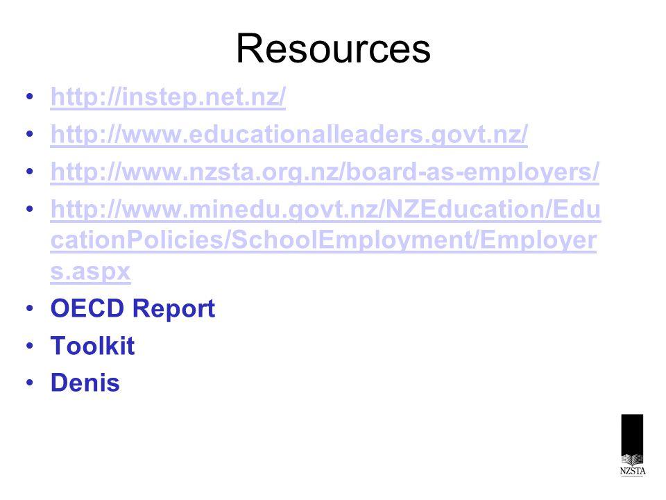 Resources http://instep.net.nz/ http://www.educationalleaders.govt.nz/ http://www.nzsta.org.nz/board-as-employers/ http://www.minedu.govt.nz/NZEducation/Edu cationPolicies/SchoolEmployment/Employer s.aspxhttp://www.minedu.govt.nz/NZEducation/Edu cationPolicies/SchoolEmployment/Employer s.aspx OECD Report Toolkit Denis