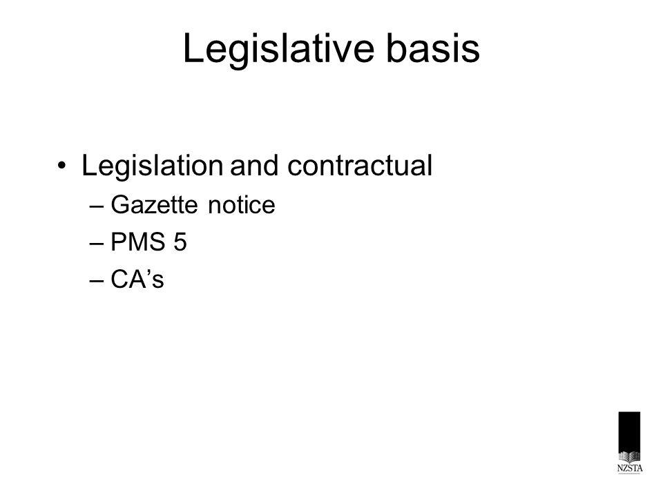Legislative basis Legislation and contractual –Gazette notice –PMS 5 –CA's