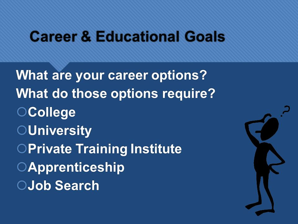 Career & Educational Goals What are your career options.