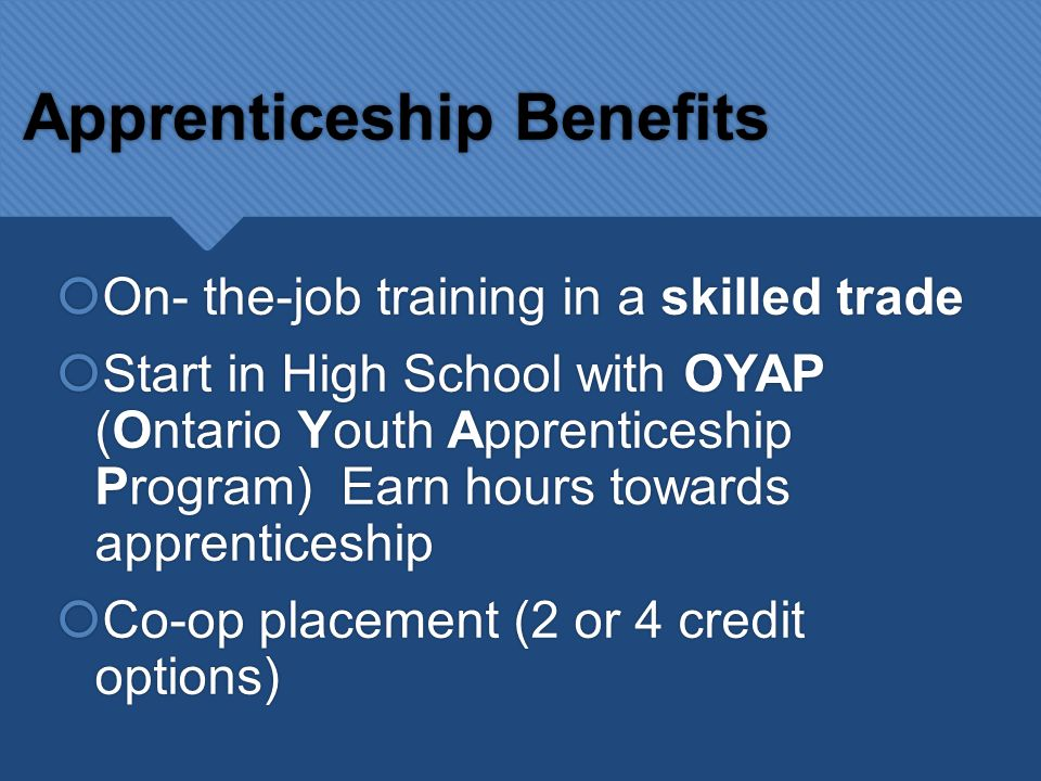 Apprenticeship Choices  Currently there are more than 135 apprenticeship trades in Ontario  Trades are divided into 4 main sectors  Currently there are more than 135 apprenticeship trades in Ontario  Trades are divided into 4 main sectors Motive Power Including: Auto Body Repair Farm Technician Automotive Heavy Duty Equipment Technician Construction Including: Brick & Stone Mason Drywall Applicator Roofer Plumber Dozer/excavator operator Industrial Including: Aircraft maintenance engineer Water well driller Welder Industrial mechanic millwright Services Including: Hairstylist Eudcational Assitant Horse grooming Special events coordinator Baker Gemsetter or goldsmith