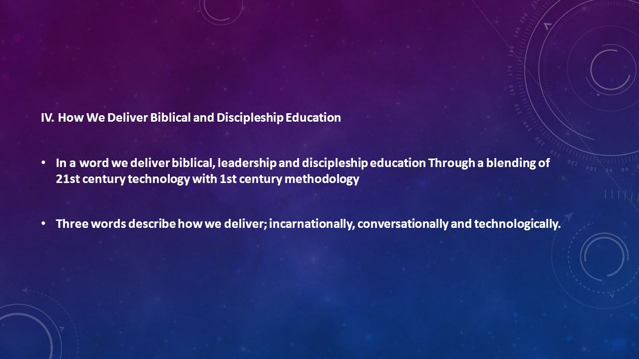 IV. How We Deliver Biblical and Discipleship Education In a word we deliver biblical, leadership and discipleship education Through a blending of 21st