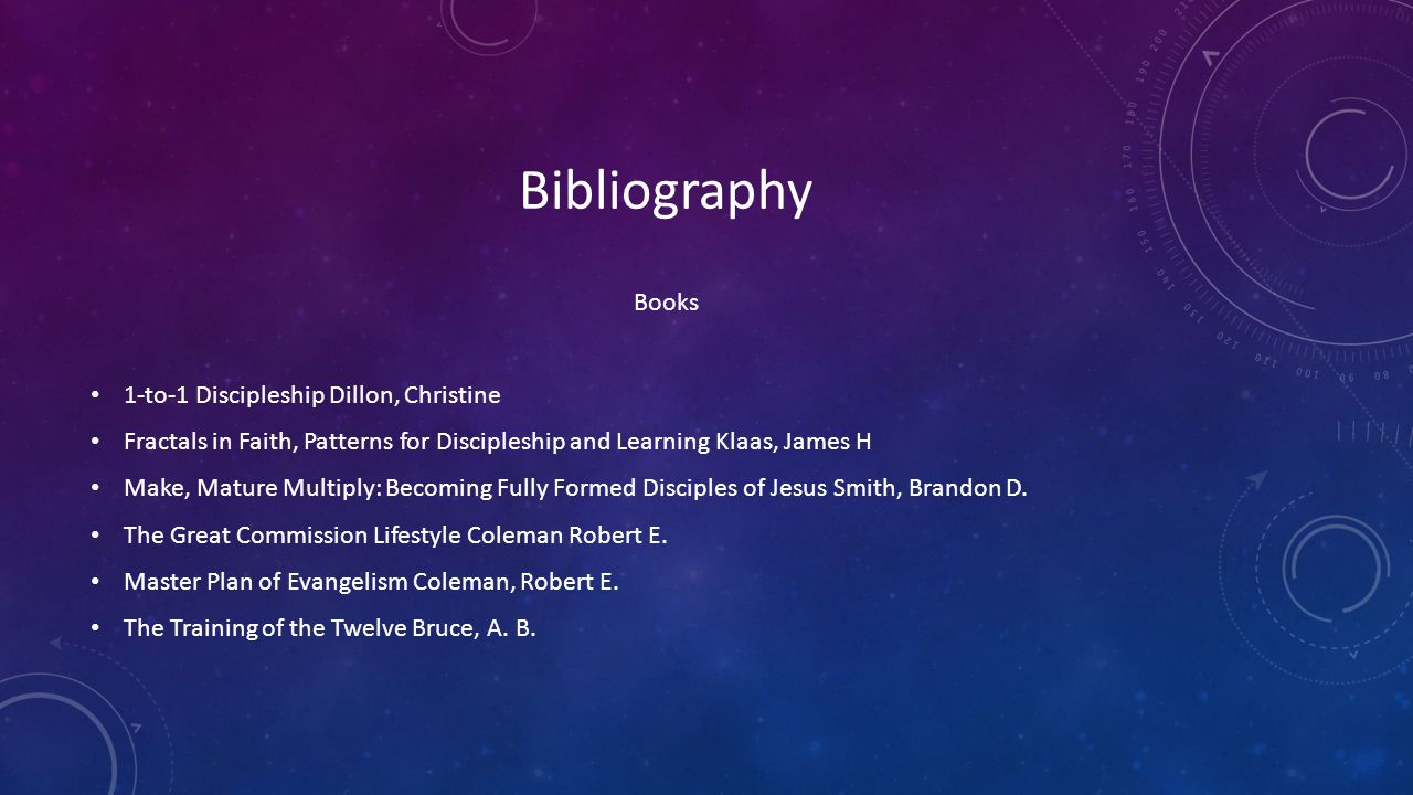 Bibliography Books 1-to-1 Discipleship Dillon, Christine Fractals in Faith, Patterns for Discipleship and Learning Klaas, James H Make, Mature Multipl