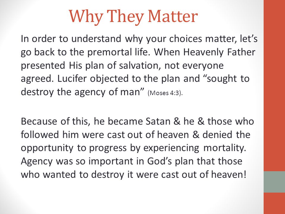 Why They Matter In order to understand why your choices matter, let's go back to the premortal life. When Heavenly Father presented His plan of salvat